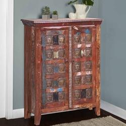 Winifred Reclaimed Wood Buddha Brass Inlay Storage Cabinet