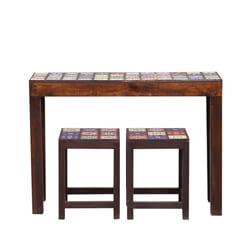 Frederica Mosaic Tile Reclaimed Wood Table & Stool Set