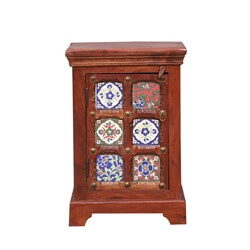 Frederica Mosaic Tile Reclaimed Wood Nightstand