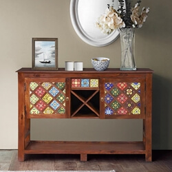 Frederica Mosaic Tile Reclaimed Wood Console Hall Table