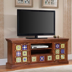 Frederica Reclaimed Mosaic Tile Wood TV Media Stand with Drawer