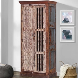 Vandalia Vertical Shutters Door Rustic Reclaimed Wood Tall Armoire