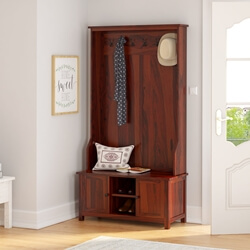Moundsville Rustic Solid Wood Entryway Hall Tree with Shoe Storage