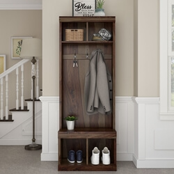 Coleridge Rustic Solid Wood Entryway Hall Tree With Shoe Storage