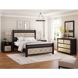 English Garden Hand Carved 5 Piece Bedroom Set