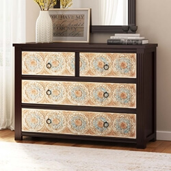 English Garden Hand Carved Mango Wood 4 Drawer Dresser