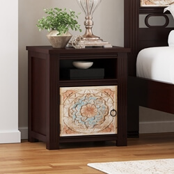 English Garden Hand Carved Mango Wood Nightstand