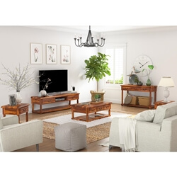 Isleton Rustic Solid Wood 5 Piece Living Room Set