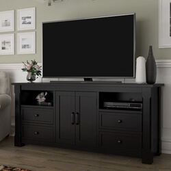 Brimson Contemporary Style Solid Wood Black TV Stand Media Console