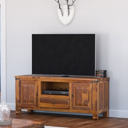 Terrarum Rustic Solid Wood TV Stand Media Console