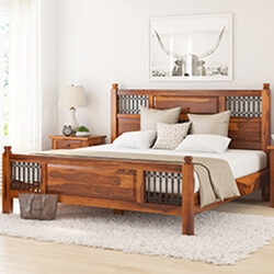 San Francisco Iron Grill Fitted Rustic Solid Wood Platform Bed Frame