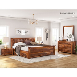 Simply Tudor Rustic Solid Wood 4 Piece Bedroom Set