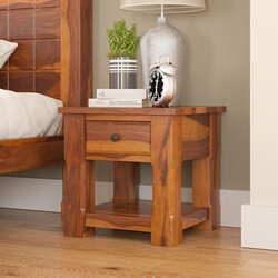 Laredo Two Tier Solid Wood Nightstand With Drawer