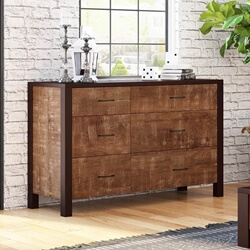 New Orleans Rustic Solid Mango Wood 6 Drawer Double Dresser