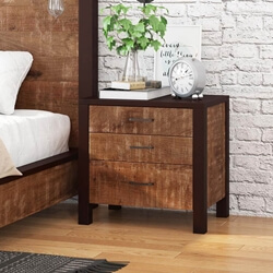 New Orleans Rustic Solid Mango Wood 3 Drawer Nightstand