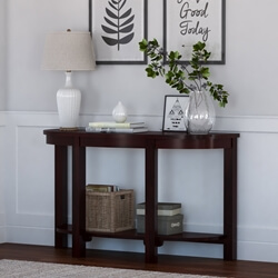 Murrieta Two-Tier Half-Moon Rustic Solid Wood Entryway Console Table