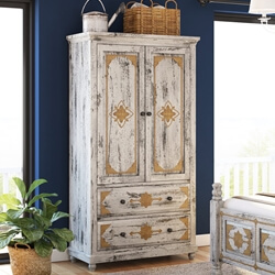 Tudor Brass Inlay Distressed Solid Mango Wood White Clothing Armoire
