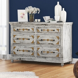 Tudor Brass Inlay Distressed Mango Wood White Dresser With 6 Drawers