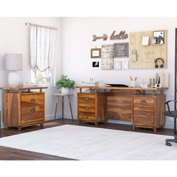 Hondah Rustic Solid Wood Desk with File Cabinet Set