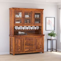 Naperville Rustic Solid Wood Glass Door Dining Room Kitchen Hutch