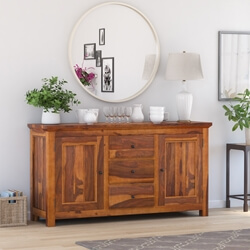 Naperville Rustic Solid Wood 3 Drawer Large Sideboard Cabinet