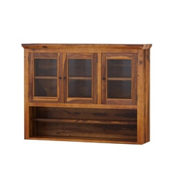 Naperville Rustic Solid Wood Glass Door Hutch Top