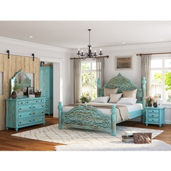 Victorian Turquoise 4 Piece Bedroom Set