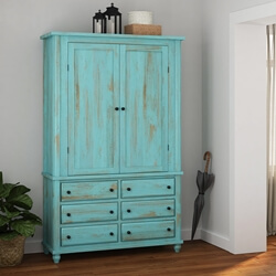 Victorian Turquoise Mango Wood Wardrobe Armoire w Drawers And Shelves