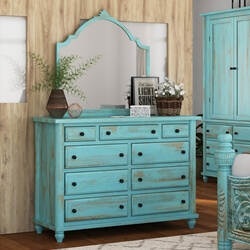 Victorian Solid Wood Turquoise Bedroom Farmhouse Dresser With 9 Drawers