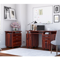 Picacho Solid Wood 3 Drawer Desk & File Cabinet 2 Piece Office Set