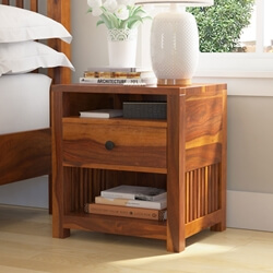 Kodiak Rustic Solid Wood Nightstand With Drawer And Open Shelves