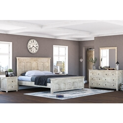 Mission Winter White 4 Piece Bedroom Set