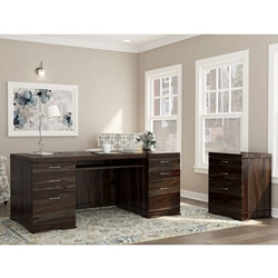 Blanford Modern Solid Wood Office Executive Desk with File Cabinet
