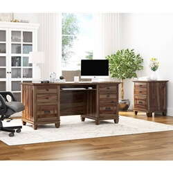 Klagetoh Rustic Solid Wood 6 Drawer Desk with File Cabinet