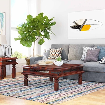 Licio Traditional Style Solid Wood & Iron Lattice Square Coffee Table