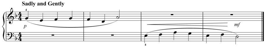 """Grade 1 piano sight reading exercise, """"Sadly and Gently in D Minor"""" by Evan M. on SightReadingMastery"""