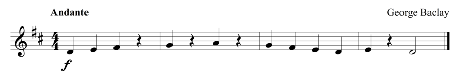 """Grade 1 violin sight reading exercise, """"Majestically in D Major"""" by George B. on SightReadingMastery"""