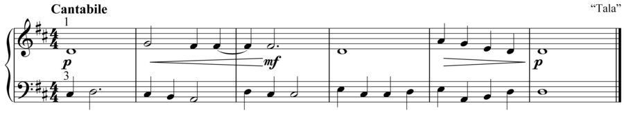 """Grade 2 piano sight reading exercise, """"Cantabile in D Major"""" by Anne M. on SightReadingMastery"""