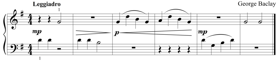 "Grade 1 piano sight reading exercise, ""Leggiadro in G Major"" by George B. on SightReadingMastery"