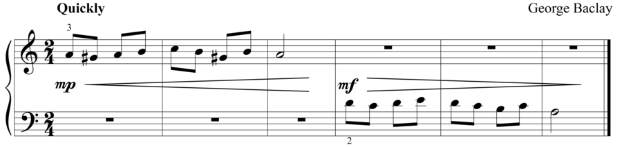 """Grade 1 piano sight reading exercise, """"Quickly in A Minor"""" by George B. on SightReadingMastery"""