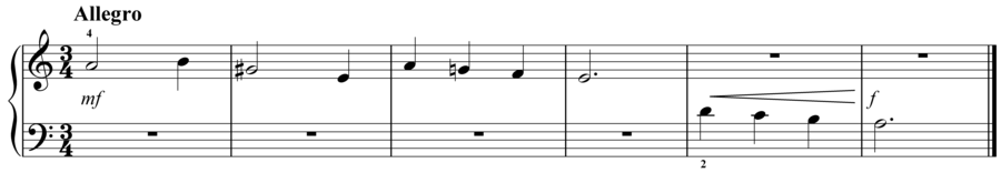 """Grade 1 piano sight reading exercise, """"Allegro in A Minor"""" by Evan M. on SightReadingMastery"""