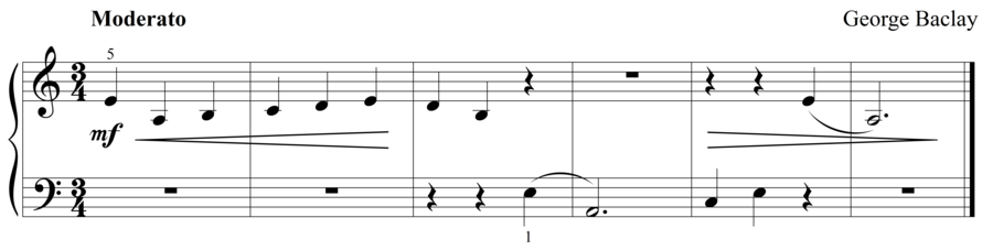 """Grade 1 piano sight reading exercise, """"Moderato in A Minor"""" by George B. on SightReadingMastery"""