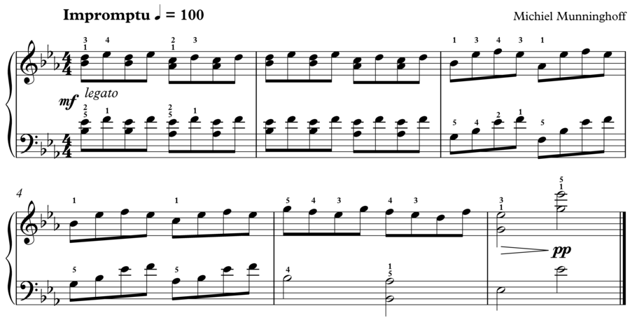 "Grade 3 piano sight reading exercise, ""Impromptu in Eb"" by Michiel M. on SightReadingMastery"