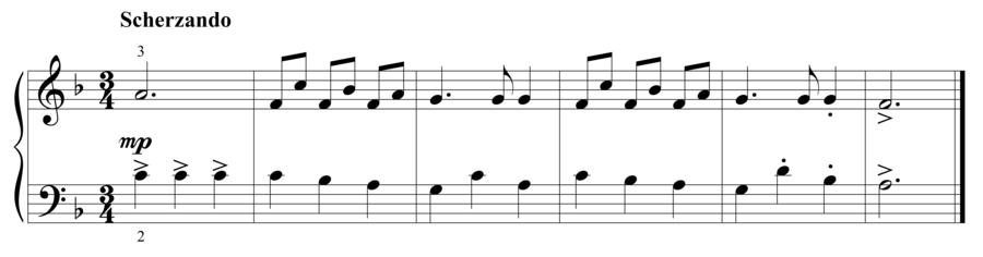 """Grade 2 piano sight reading exercise, """"Scherzando in F Major"""" by Steven K. on SightReadingMastery"""