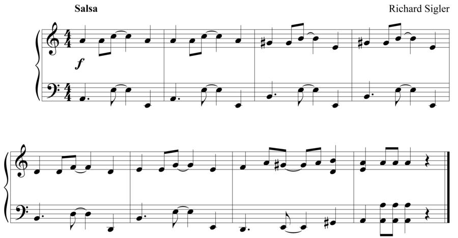 "Grade 3 piano sight reading exercise, ""Salsa in A Minor"" by Richard S. on SightReadingMastery"