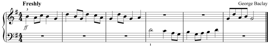 "Grade 1 piano sight reading exercise, ""Fresco in G Major"" by George B. on SightReadingMastery"