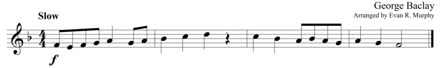 """Grade 1 guitar sight reading exercise, """"Lyrically in F Major"""" by George B. on SightReadingMastery"""