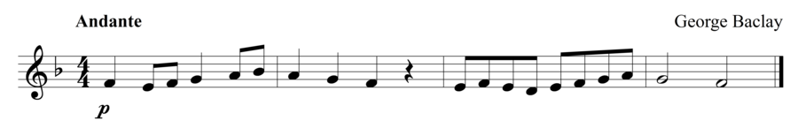 """Grade 1 trumpet sight reading exercise, """"Passing Through"""" by George B. on SightReadingMastery"""