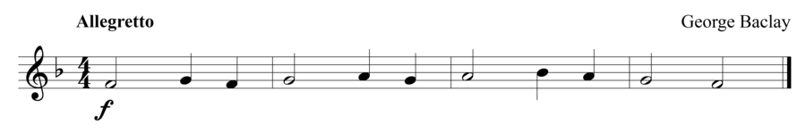 """Grade 1 trumpet sight reading exercise, """"A Short One"""" by George B. on SightReadingMastery"""