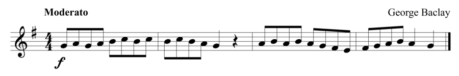 """Grade 1 trumpet sight reading exercise, """"John Playing"""" by George B. on SightReadingMastery"""